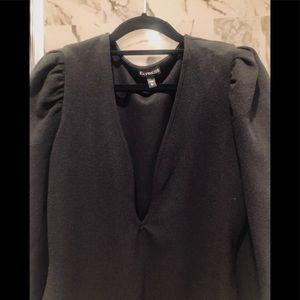 Express Tops - NWOT Express puff sleeve deep V bodysuit (sz M)